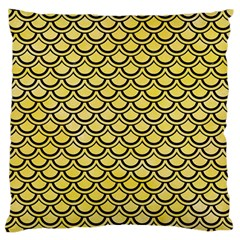 Scales2 Black Marble & Yellow Watercolor Large Flano Cushion Case (two Sides)