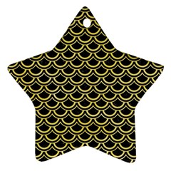 Scales2 Black Marble & Yellow Watercolor (r) Ornament (star)