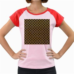 Scales2 Black Marble & Yellow Watercolor (r) Women s Cap Sleeve T Shirt