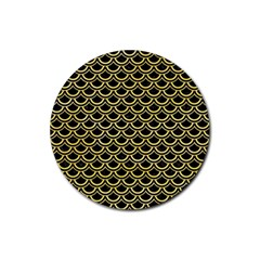 Scales2 Black Marble & Yellow Watercolor (r) Rubber Round Coaster (4 Pack)