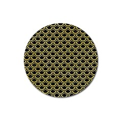 Scales2 Black Marble & Yellow Watercolor (r) Magnet 3  (round)