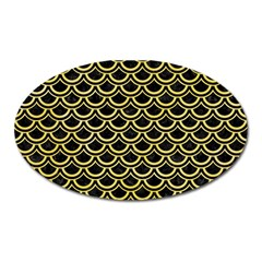 Scales2 Black Marble & Yellow Watercolor (r) Oval Magnet
