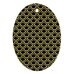 Scales2 Black Marble & Yellow Watercolor (r) Oval Ornament (two Sides)