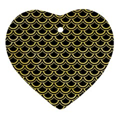 Scales2 Black Marble & Yellow Watercolor (r) Heart Ornament (two Sides)