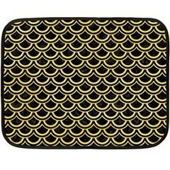 Scales2 Black Marble & Yellow Watercolor (r) Fleece Blanket (mini)