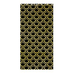 Scales2 Black Marble & Yellow Watercolor (r) Shower Curtain 36  X 72  (stall)