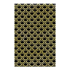 Scales2 Black Marble & Yellow Watercolor (r) Shower Curtain 48  X 72  (small)
