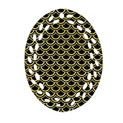 Scales2 Black Marble & Yellow Watercolor (r) Ornament (oval Filigree)