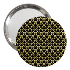 Scales2 Black Marble & Yellow Watercolor (r) 3  Handbag Mirrors