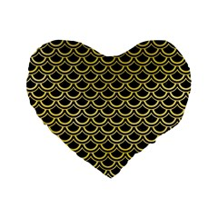 Scales2 Black Marble & Yellow Watercolor (r) Standard 16  Premium Heart Shape Cushions