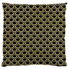 Scales2 Black Marble & Yellow Watercolor (r) Large Flano Cushion Case (two Sides)