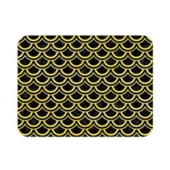 Scales2 Black Marble & Yellow Watercolor (r) Double Sided Flano Blanket (mini)