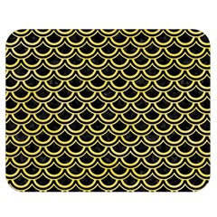 Scales2 Black Marble & Yellow Watercolor (r) Double Sided Flano Blanket (medium)