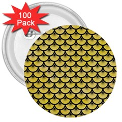 Scales3 Black Marble & Yellow Watercolor 3  Buttons (100 Pack)
