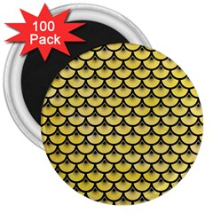 Scales3 Black Marble & Yellow Watercolor 3  Magnets (100 Pack)