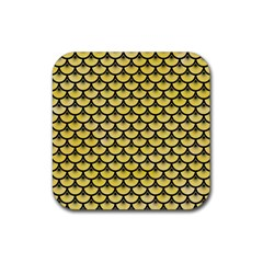 Scales3 Black Marble & Yellow Watercolor Rubber Square Coaster (4 Pack)