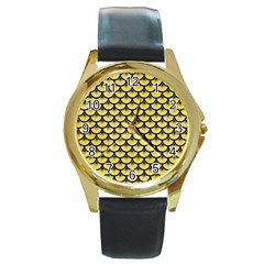 Scales3 Black Marble & Yellow Watercolor Round Gold Metal Watch