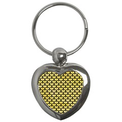 Scales3 Black Marble & Yellow Watercolor Key Chains (heart)
