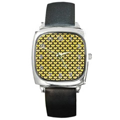 Scales3 Black Marble & Yellow Watercolor Square Metal Watch