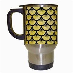 Scales3 Black Marble & Yellow Watercolor Travel Mugs (white)