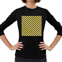 Scales3 Black Marble & Yellow Watercolor Women s Long Sleeve Dark T Shirts