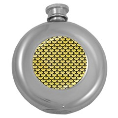 Scales3 Black Marble & Yellow Watercolor Round Hip Flask (5 Oz)