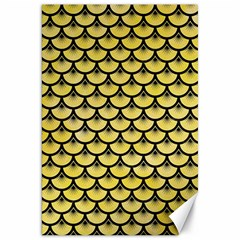 Scales3 Black Marble & Yellow Watercolor Canvas 20  X 30