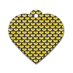 Scales3 Black Marble & Yellow Watercolor Dog Tag Heart (two Sides)