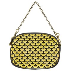 Scales3 Black Marble & Yellow Watercolor Chain Purses (two Sides)