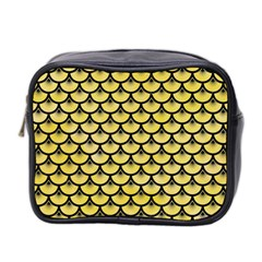 Scales3 Black Marble & Yellow Watercolor Mini Toiletries Bag 2 Side