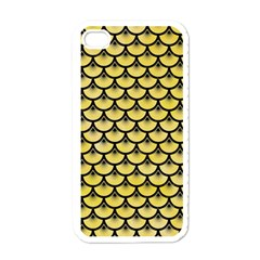 Scales3 Black Marble & Yellow Watercolor Apple Iphone 4 Case (white)