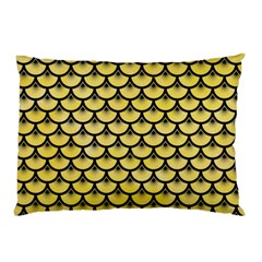 Scales3 Black Marble & Yellow Watercolor Pillow Case (two Sides)