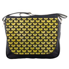 Scales3 Black Marble & Yellow Watercolor Messenger Bags