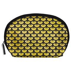 Scales3 Black Marble & Yellow Watercolor Accessory Pouches (large)