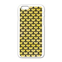 Scales3 Black Marble & Yellow Watercolor Apple Iphone 6/6s White Enamel Case