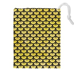 Scales3 Black Marble & Yellow Watercolor Drawstring Pouches (xxl)