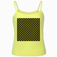Scales3 Black Marble & Yellow Watercolor (r) Yellow Spaghetti Tank