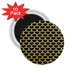 Scales3 Black Marble & Yellow Watercolor (r) 2 25  Magnets (10 Pack)