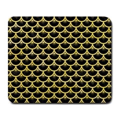 Scales3 Black Marble & Yellow Watercolor (r) Large Mousepads