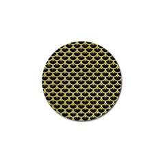 Scales3 Black Marble & Yellow Watercolor (r) Golf Ball Marker (10 Pack)