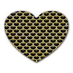 Scales3 Black Marble & Yellow Watercolor (r) Heart Mousepads