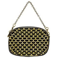 Scales3 Black Marble & Yellow Watercolor (r) Chain Purses (two Sides)