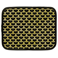 Scales3 Black Marble & Yellow Watercolor (r) Netbook Case (xxl)