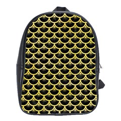 Scales3 Black Marble & Yellow Watercolor (r) School Bag (large)