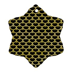 Scales3 Black Marble & Yellow Watercolor (r) Ornament (snowflake)