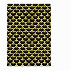 Scales3 Black Marble & Yellow Watercolor (r) Large Garden Flag (two Sides)