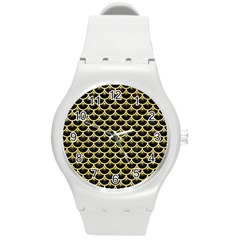 Scales3 Black Marble & Yellow Watercolor (r) Round Plastic Sport Watch (m)
