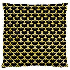 Scales3 Black Marble & Yellow Watercolor (r) Large Cushion Case (two Sides)