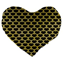 Scales3 Black Marble & Yellow Watercolor (r) Large 19  Premium Heart Shape Cushions