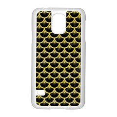 Scales3 Black Marble & Yellow Watercolor (r) Samsung Galaxy S5 Case (white)